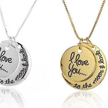 Silver or Gold I Love You To The Moon and Back Two Piece Pendant Charm Necklace, Engraved, Personalized