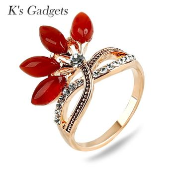K's Gadgets Rose Gold color Red Natural Stone Rings For Women Fashion Female Crystal Rhinestone Wedding Bands Ring Jewelry Bague