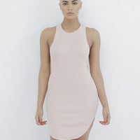 PAOLA RIBBED KNIT TANK DRESS - BLUSH