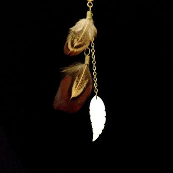 Brown pheasant feather and mother of pearl boho necklace