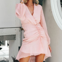 Spring and summer new lace dress V-neck fashion women's cut flower short dress