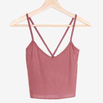 Cross Back Crop Top - Mauve