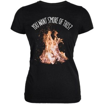 ESBGQ9 Autumn You Want S'more of This Bonfire Pun Juniors Soft T Shirt