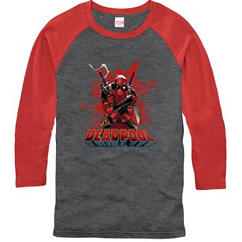 Deadpool Red Splotch Icon Mens 3/4 Sleeve T-Shirt