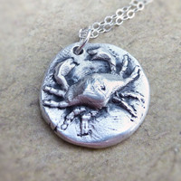 Zodiac cancer crab wax seal style pendant created from fine silver