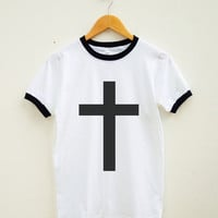 Cross Shirt Inverted Cross Symbol Shirt Instagram Funny Tumblr Shirt FashionWomen Tee Shirt Men Tee Shirt Ringer Shirt Short Sleeve Shirt