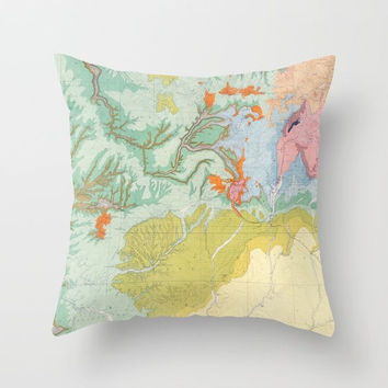 Southwest Map Pillow  -  Colorado, Utah, New Mexico, Arizona - geological study map -  Vintage Maps, unique, colorful, rectangular pastel
