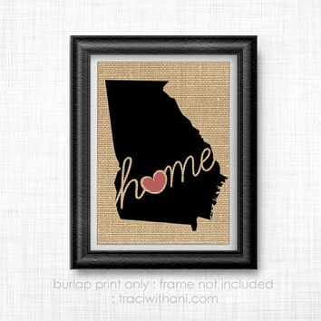 Georgia Home - GA Burlap Printed Wall Art: Print, Silhouette, Print, Heart, Home, State, United States, Rustic, Typography, Artwork, Map