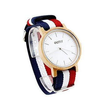 Unisex Striped Wood Wrist Watch with Nylon MultiColor Band Wooden Quartz Analog Wristwatch Bamboo Casual for Men and Women
