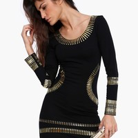Where's My Stud Long Sleeve Bodycon Mini Dress