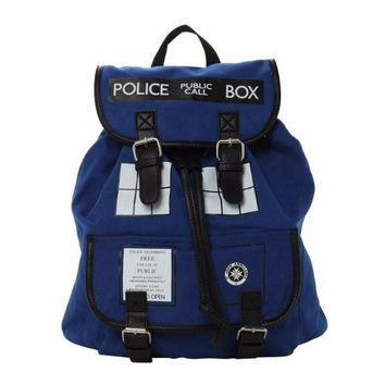 Doctor Dr. Who Tardis Women's Knapsack Backpack Police Box Bag very Good Quality With Tag
