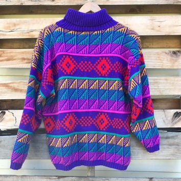 Vintage 90s Funky Rainbow Geometric Pattern Turtle Neck Sweater Size Large