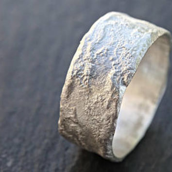 cool silver ring molten, silver wedding band unique proposal ring men, ring moon surface, fused silver ring, medieval wedding band silver