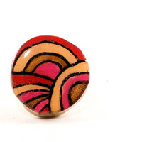 Rainbow Ring | Wood Burned Ring | Colorful Trending Stripe Ring | Sycamore Tree Slice Ring | Painted Wooden Ring | Red, Pink, and Peach Ring