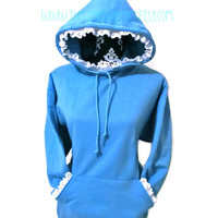 Lace Trimmed Womens Hoodie Sweatshirt Customizable Girly Cute