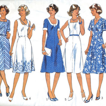 "Unused Vintage Sewing Pattern - Woman's Short Flared Dress Pattern In 5 Styles - Style 1925 - Size 18 1/2 Bust 41"" / 104cm"