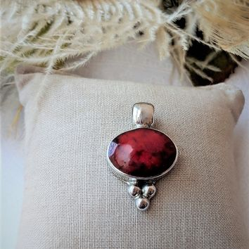 Vintage Signed ATI Mexico Sterling Silver Design & Red Jasper Oval Pendant