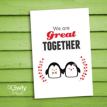 Printable Cute Penguin Valentines day card. Ready to print Penguin Love Card. Cute Valentines day card