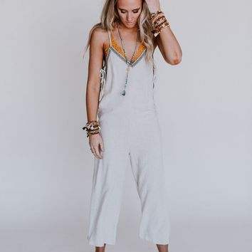 Justine Embroidered Jumpsuit - Natural