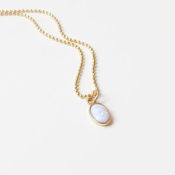 Opal Necklace | Oval Opal Necklace | Opal Pendant on a Gold Chain | Tiny Opal Necklace | October Birthstone Necklace