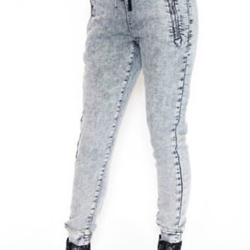 Knit Denim Track Pant in Acid | William Rast