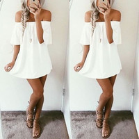 Short Sleeve Sexy Strapless One Piece Dress [10389905869]