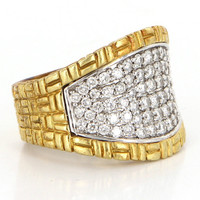 Estate Philip Andre 18 Karat Yellow Gold Diamond Wide Band Cigar Ring Estate Jewelry