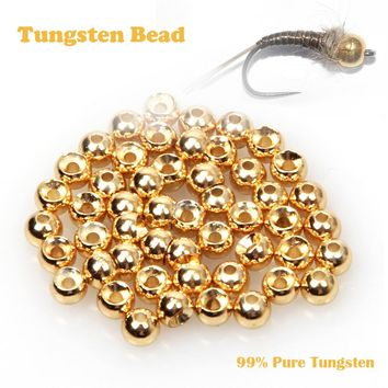Fly Fishing 100pcs / lot Fly Tying Tungsten Beads Fly Fishing Nymph Head Ball Beads Gold Silver Copper Beads