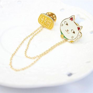 Br030+ Small White Rabbit Lucky Cat Omelette Mount Fuji Planet Cloud Lightning Collar Pin Brooch Jewelry For Women