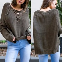Dark Green Plain Drawstring Irregular Long Sleeve Pullover Sweater