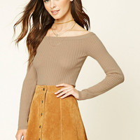 Ribbed Knit Boat-Neck Top