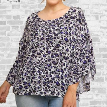 Ruffle Sleeve Leopard Top - Purple - XL only