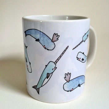 Narwhal Mug 11oz by thelittlecanoe on Etsy