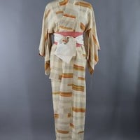 Vintage Silk Kimono Robe / Ivory Orange and Green Stripes