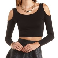 Cold Shoulder Scoop Neck Crop Top by Charlotte Russe