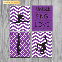 Girls Gymnastics Art, Cute Personalized Gymnastics Gifts and Gymnastics Wall Art- silhouette- purple
