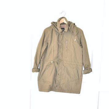 military field jacket vintage army coat / olive green khaki anorak unisex small