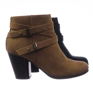 Undine Vintage Western Stack Wood Tall Block Heel Belted Ankle Boots