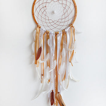 Wedding Dreamcatcher, Doily Dreamcatcher, White Dreamcatcher, Crochet Dreamcatcher, Handmade, Boho, White and Gold, Wall Hanging, Big