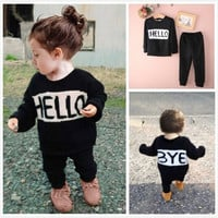 Toddler Kids Baby Girls Boys Print Hello Bye T-shirt Tops+Pants Trousers Outfits Clothing Set [8270462401]