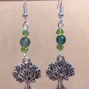 Tree Charm Dangle Earrings, Green Glass Bead & Peridot Crystal Silver Tree Charm Earrings, Glass Bead Earrings, Handmade Beaded Jewelry