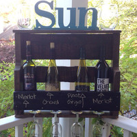 Rustic Chalkboard Wine Rack; Wedding Wine Rack; Rustic Wine Rack
