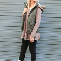 Zen Spell Olive High Neck Padded Vest With Removable Hood