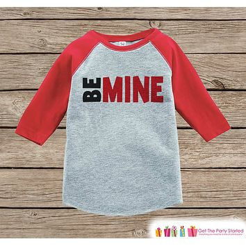 Kids Valentines Outfit - Be Mine Valentine's Day Shirt or Onepiece - Valentine Shirt for Boy or Girl - Baby Toddler Youth - Red & Black Top