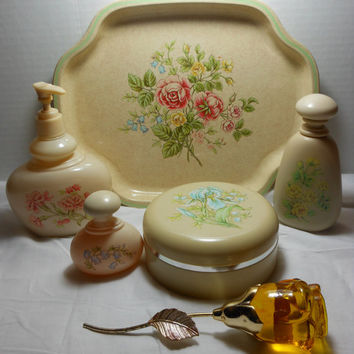 Vanity Set  Ariane by Avon Floral Tray and Accessories with Moonwind Courting Rose Mother's Day Gift Easter Spring Summer Flowers