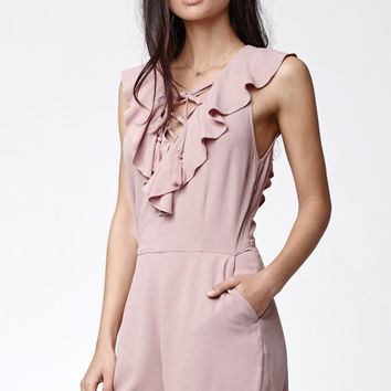 Kendall and Kylie Lace-Up Ruffle Romper at PacSun.com