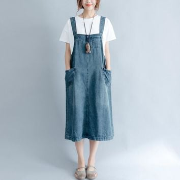 New stylish denim sundress dress summer female solid color loose straps w297