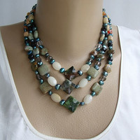 Agate Opi Stone Jasper Blue FWP 3 strand Necklace SET Gemstone Jewelry