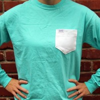 Unisex Long Sleeve Logo Tee Shirt in Marloon Lagoon Blue/Green with White Oxford Pocket by the Frat Collection