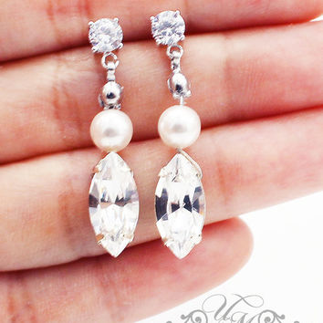 Wedding Jewelry  Swarovski Pearl Swarovski Crystal earrings Wedding Earrings Bridal Earrings Bridesmaids Earrings Dangle Earrings - EDITH